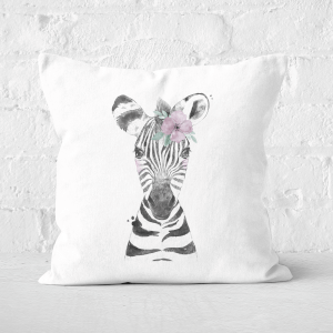 Pressed Flowers Floral Zebra Square Cushion