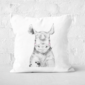 Pressed Flowers Blushed Rhino Square Cushion