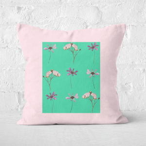 Pressed Flowers Natural Tone Trio Flowers Square Cushion