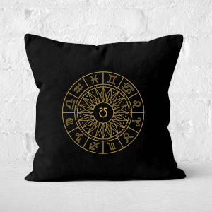 Pressed Flowers Decorative Horoscope Symbols Square Cushion