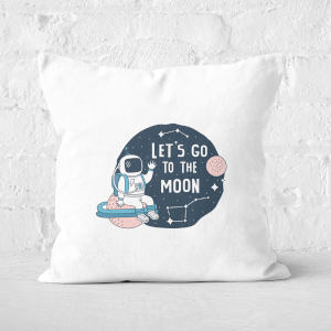 Let's Go To The Moon Square Cushion