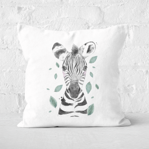 Pressed Flowers Zebra And Leaves Square Cushion