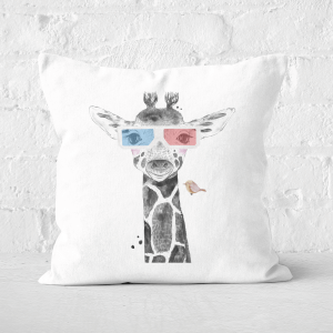 Pressed Flowers 3D Giraffe Square Cushion
