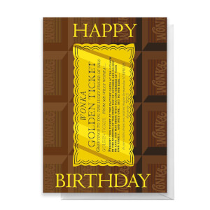 Willy Wonka Golden Ticket Birthday Greetings Card