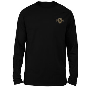 Harry Potter Slytherin Embroidered Unisex Long Sleeved T-Shirt - Black