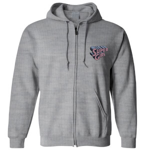 DC Super Girl Embroidered Unisex Zipped Hoodie - Grey