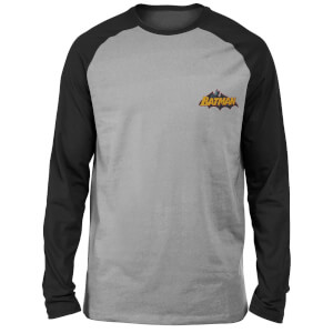DC Batman Logo Embroidered Unisex Long Sleeved Raglan T-Shirt - Grey/Black
