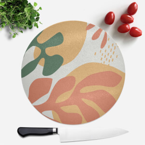Mid Warm Leaf Pattern Round Chopping Board