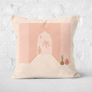 Palm Tree Door Way Square Cushion