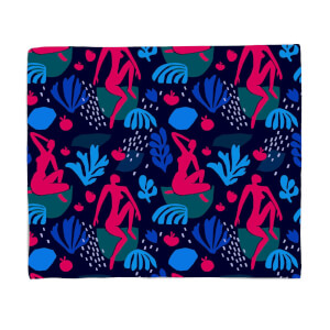 Silhouete And Leaves Fleece Blanket