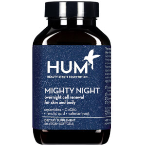 HUM Nutrition Mighty Night Overnight Renewal Supplement (60 Vegan Softgels, 30 Days)