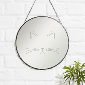 Cat Face Engraved Mirror