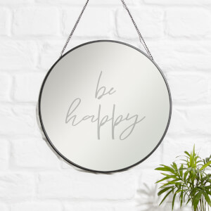 Be Happy Engraved Mirror