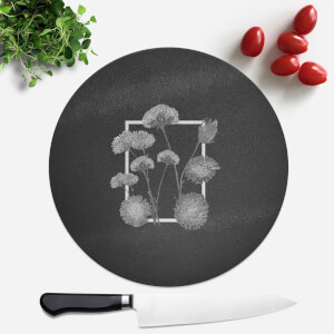 Pressed Flowers Monochrom Framed Sketched Flowers Round Chopping Board