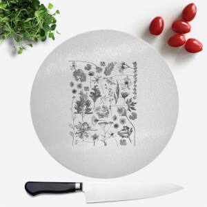 Pressed Flowers Monochrome All Over Flower Print Round Chopping Board