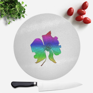 Pressed Flowers Ombre Rainbow Flower Round Chopping Board