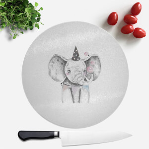 Pressed Flowers Party Elephant Round Chopping Board