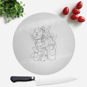 Pressed Flowers Rhino Scribbles Round Chopping Board