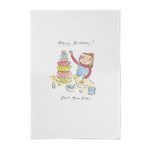 Happy Birthday Best Mum Ever Cotton Tea Towel - White