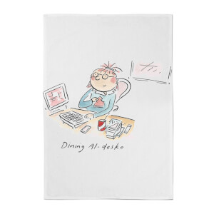 Dining Al Desko Cotton Tea Towel - White