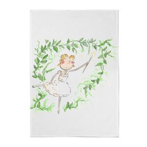 Beauty Dances With Spindle Cotton Tea Towel - White