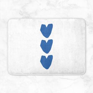 Three Blue Hearts Bath Mat