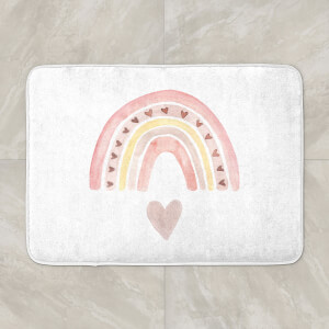 Watercolour Rainbow And Heart Bath Mat