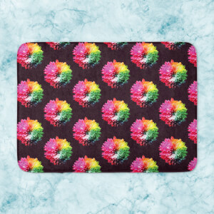 Fluro Flower Pattern Dark Bath Mat
