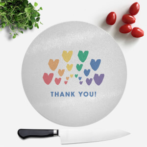 Thank You Rainbow Hearts Round Chopping Board