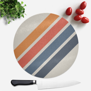 Blue Orange Retro Stripes Round Chopping Board