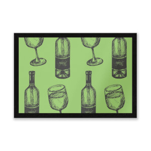 White Wine And Bottle Entrance Mat