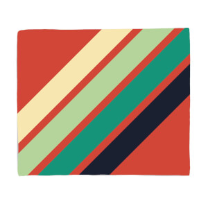 Green Retro Stripe Fleece Blanket