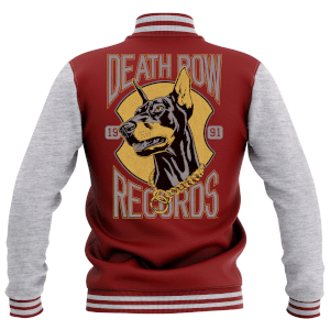Death Row Records Men's Varsity Jacket - Burgundy / Grey