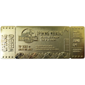 Jurassic Park 24K Gold Plated Entrance Ticket - Limited Edition