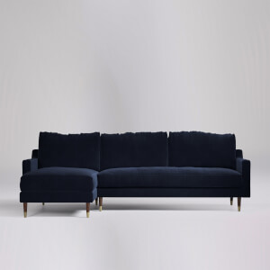Swoon Reiti Velvet Corner Sofa - Left Hand Side