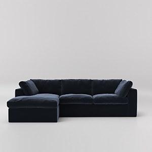 Swoon Seattle Velvet Corner Sofa - Left Hand Side