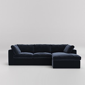 Swoon Seattle Velvet Corner Sofa - Right Hand Side
