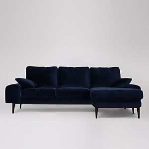 Swoon Tulum Velvet Corner Sofa - Right Hand Side