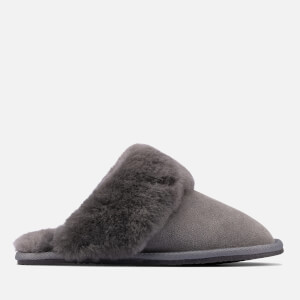 Clarks Women's Warm Lux Suede Mule Slippers - Grey
