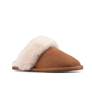 Clarks Women's Warm Lux Suede Mule Slippers - Tan