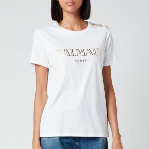 Balmain Women's Short Sleeve 3 Button Vintage Logo T-Shirt - White