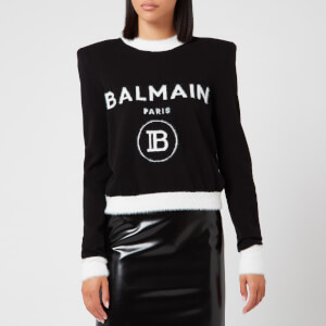 Balmain Women's Cropped Fuzzy Logo Sweatshirt - Black