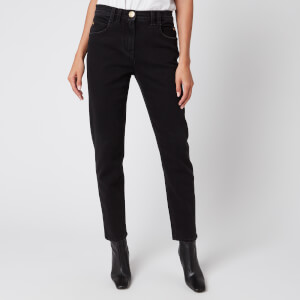 Balmain Women's Low-Rise Slim Jeans with Patch - Black