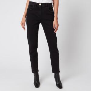 Balmain Women's Low-Rise Slim Jeans with Patch - Black
