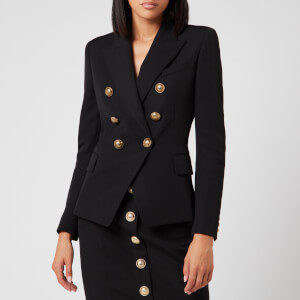 Balmain Women's 6 Button Grain De Poudre Jacket - Black