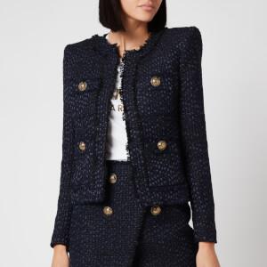 Balmain Women's Collarless 4 Pocket Tweed Jacket - Blue