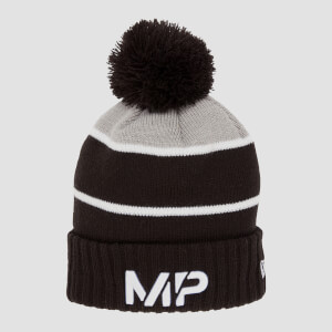 MP New Era Knitted Bobble Hat - Black/White