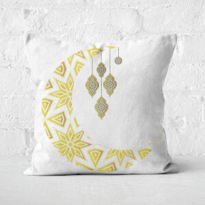 Eid Mubarak Patterned Moon And Lamps Square Cushion