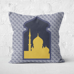 Eid Mubarak Circle Print With Window Square Cushion
