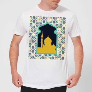 Eid Mubarak Earth Tone Print And Window Frame Men's T-Shirt - White